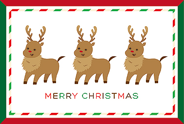 赤と緑のフレームに3匹のトナカイ クリスマスカード 2018 人気 無料 イラスト