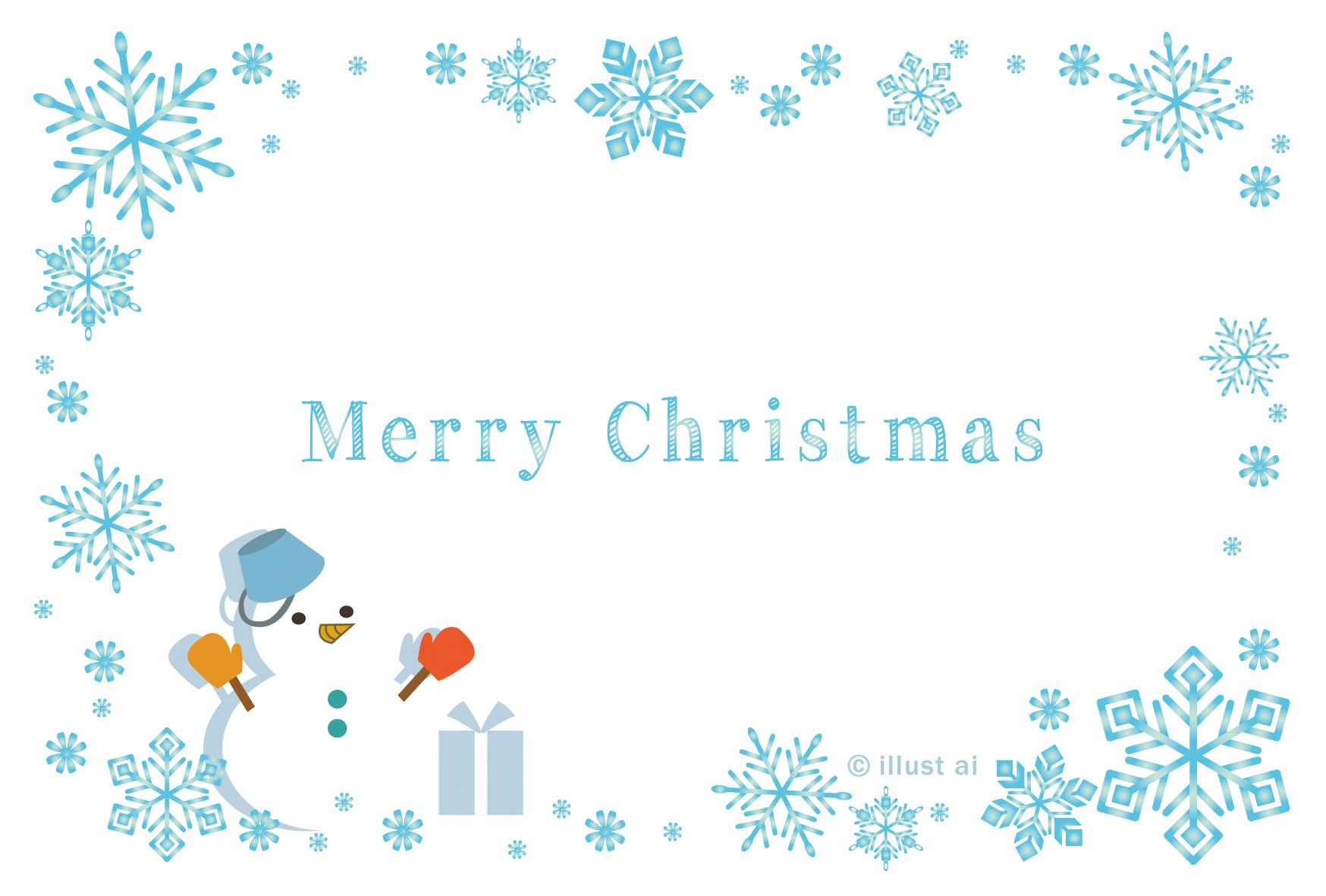 雪の結晶フレーム 雪だるま クリスマスカードテンプレート ポストカード イラスト素材サイト イラストareira Postcard Template