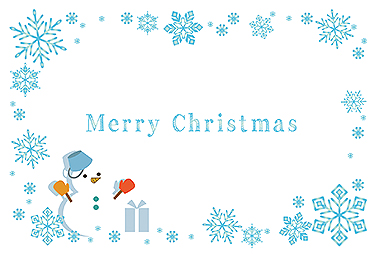 水色の雪の結晶フレーム&雪だるま クリスマスカード 2018 シンプル 無料 イラスト
