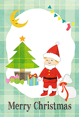 子供サンタの楽しいクリスマス クリスマスカード 2018 サンタ 無料 イラスト