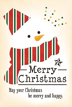 スノーマンと英語メッセージクリスマスカードテンプレート 無料