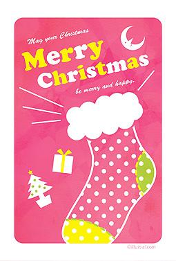 ピンクのかわいいクリスマス靴下 クリスマスカード 2018 かわいい 無料 イラスト