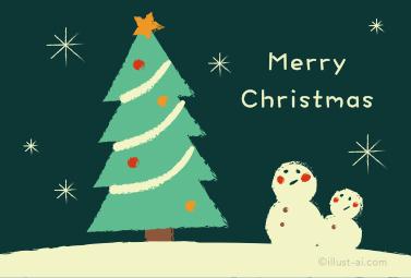 クレヨンタッチのツリーと雪だるま クリスマスカード 2018 かわいい 無料 イラスト