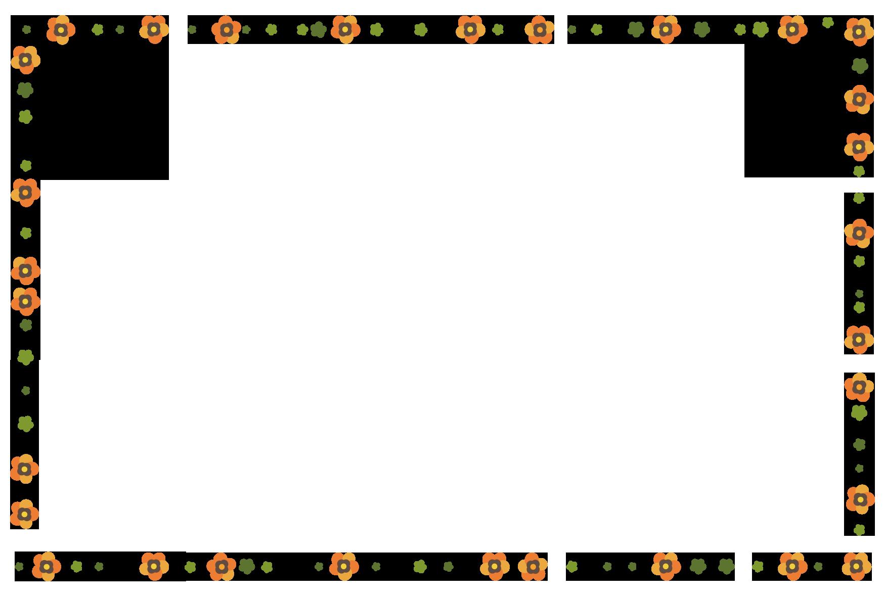 オレンジ色の小花フレーム」 - 無料イラスト愛