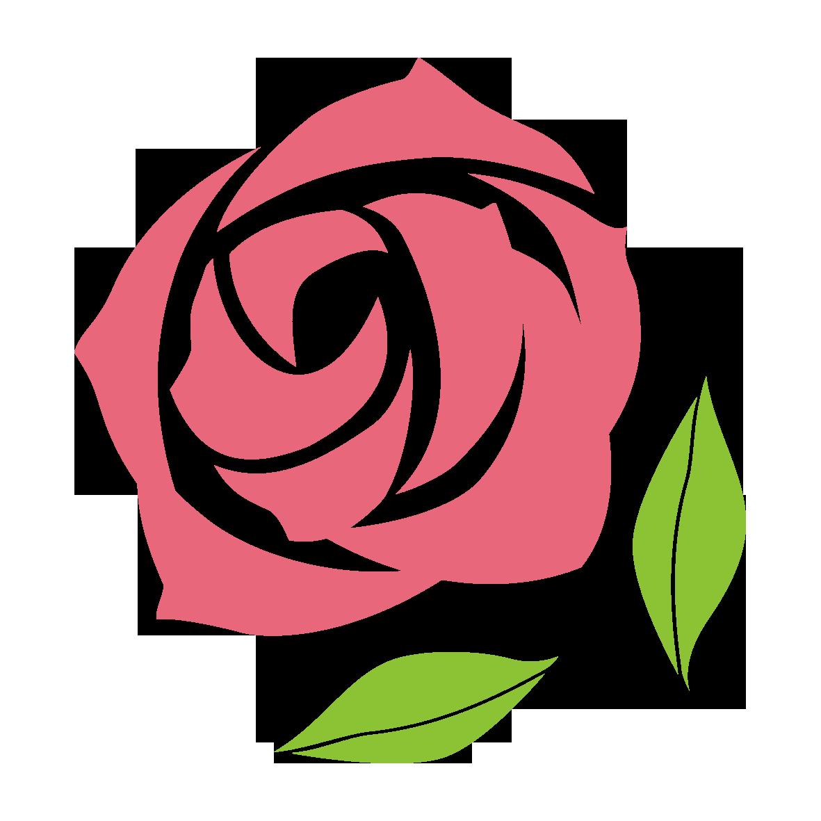 シンプルなバラの花のイラストです。ちょっとした飾りに最適!花の色がピンクなので、柔らかい印象です。