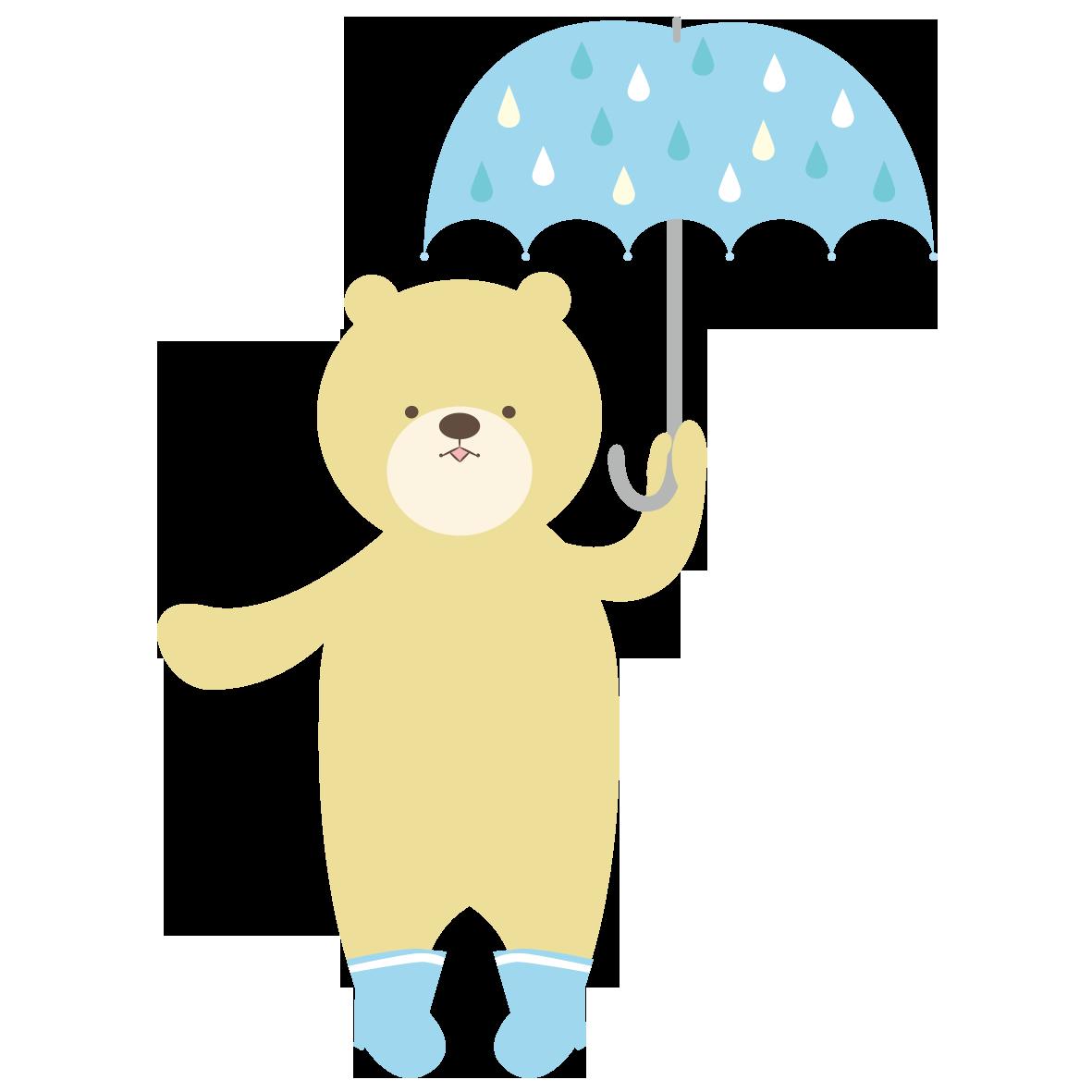 傘をさしたクマ」 - 無料イラスト愛