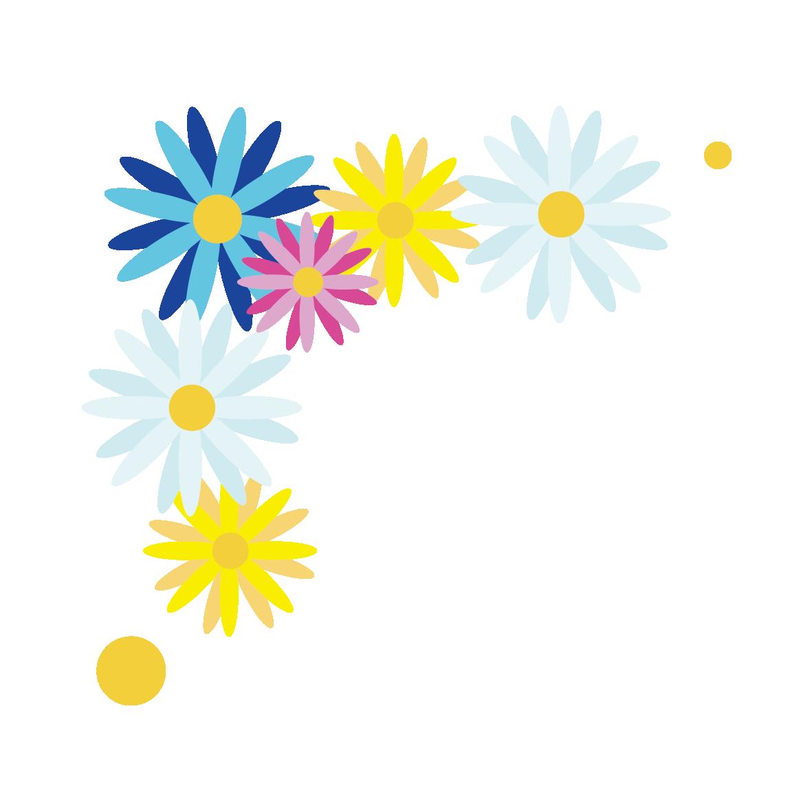 カラフルな花のコーナー飾り青 無料イラスト愛