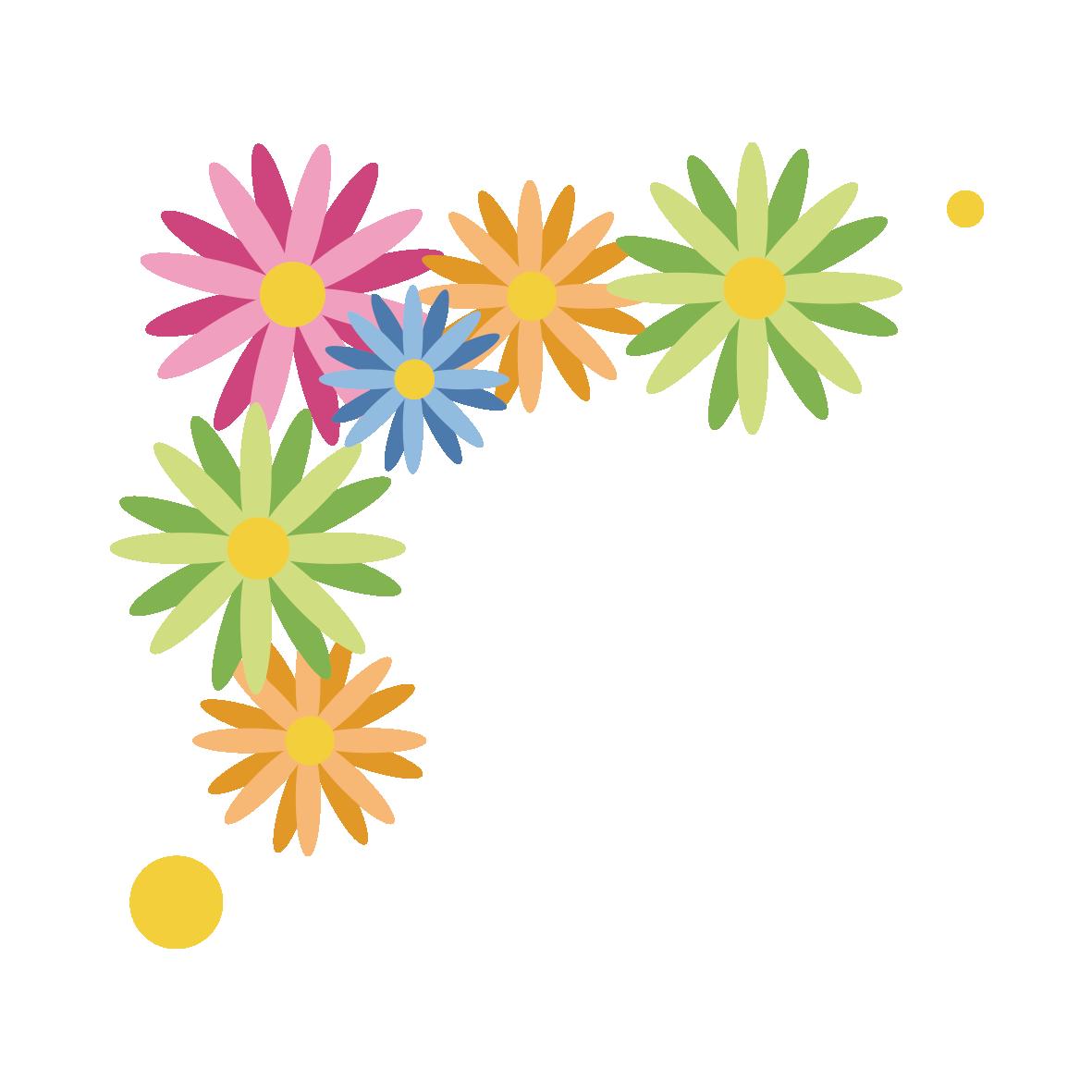 カラフルな花のコーナー飾りピンク 無料イラスト愛