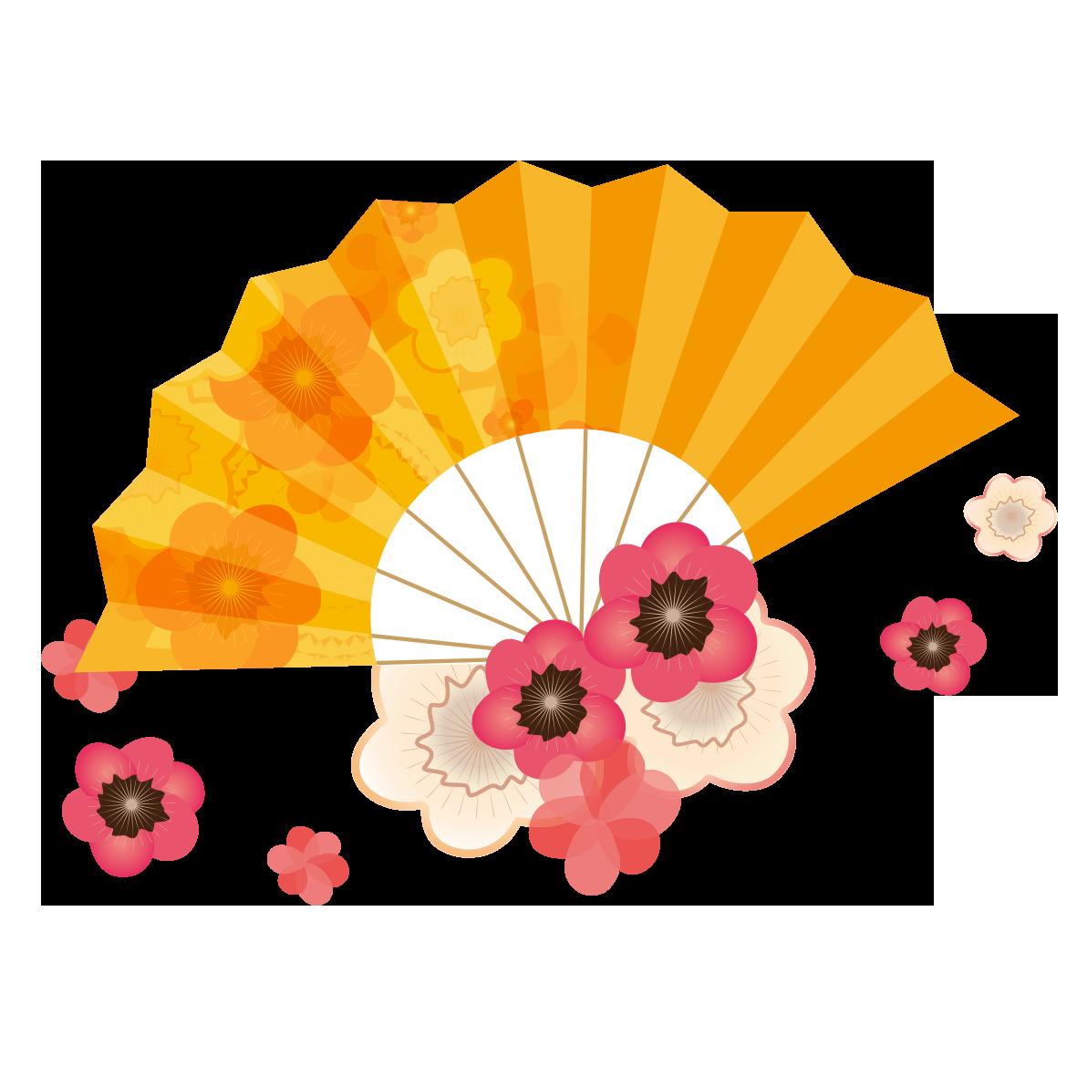 梅の花と扇 無料イラスト愛