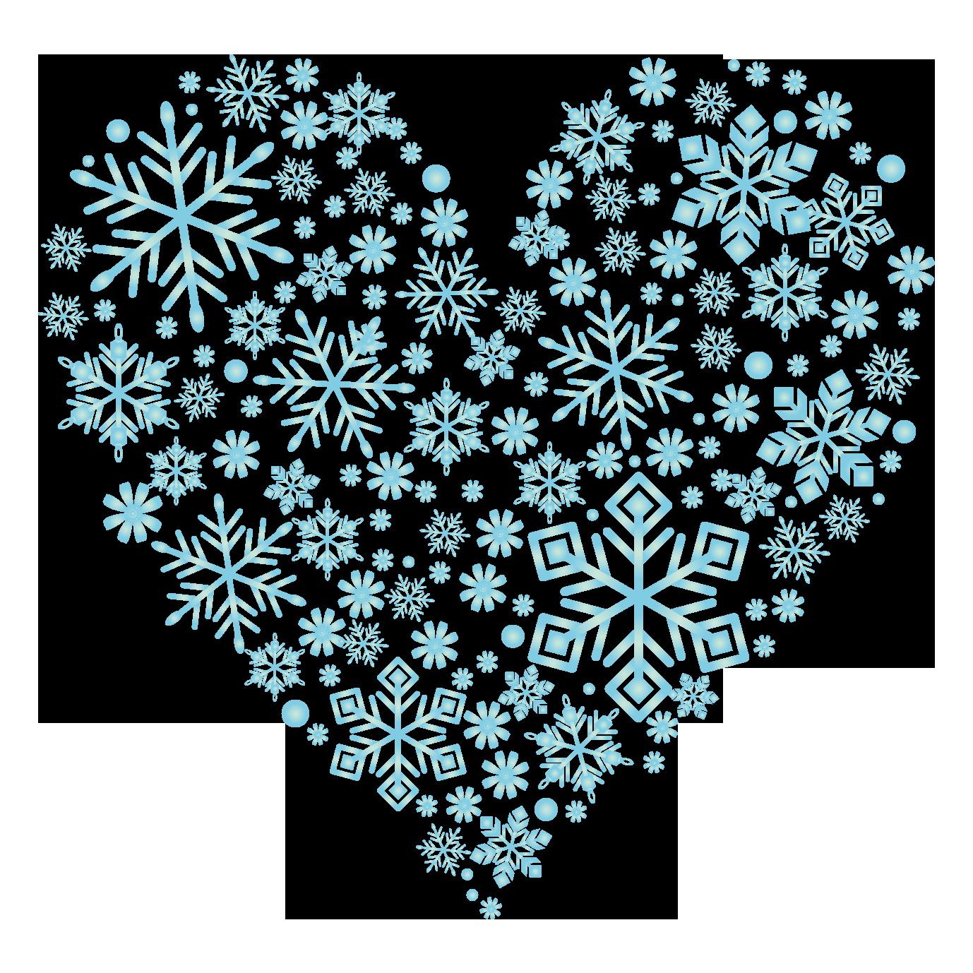 水色の雪のハート 無料イラスト愛