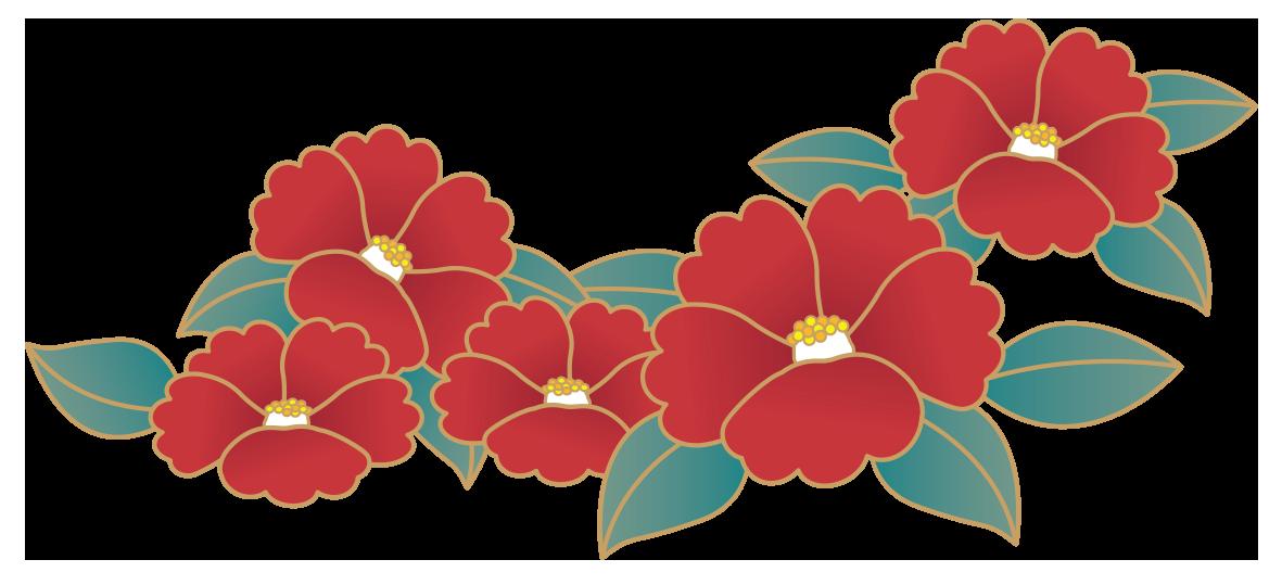 レトロな椿の花 無料イラスト愛