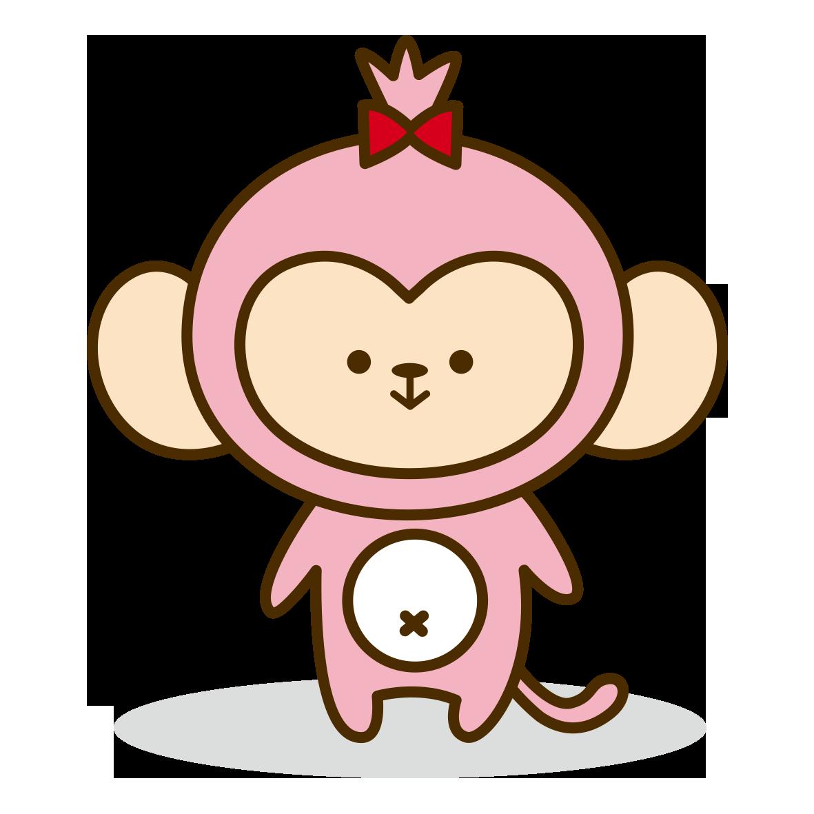 ピンクのおさるさん 無料イラスト愛