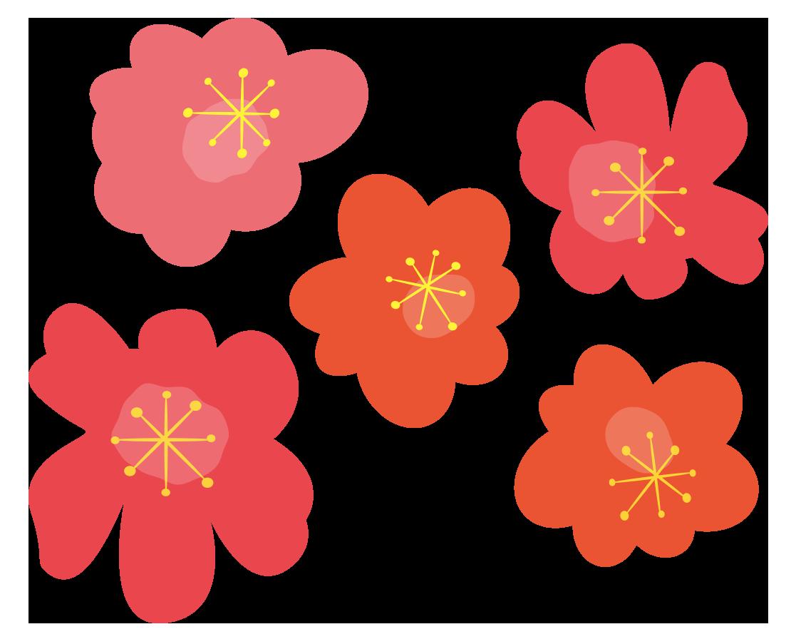 マリメッコ風の赤い花 無料イラスト愛