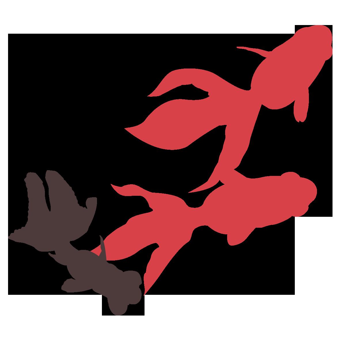 赤い金魚と黒い金魚 無料イラスト愛