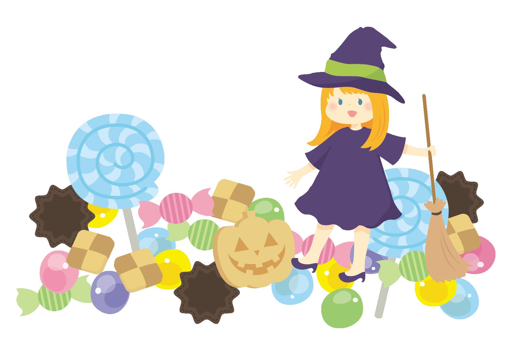 お菓子と金色の髪をした女の子 無料イラスト愛