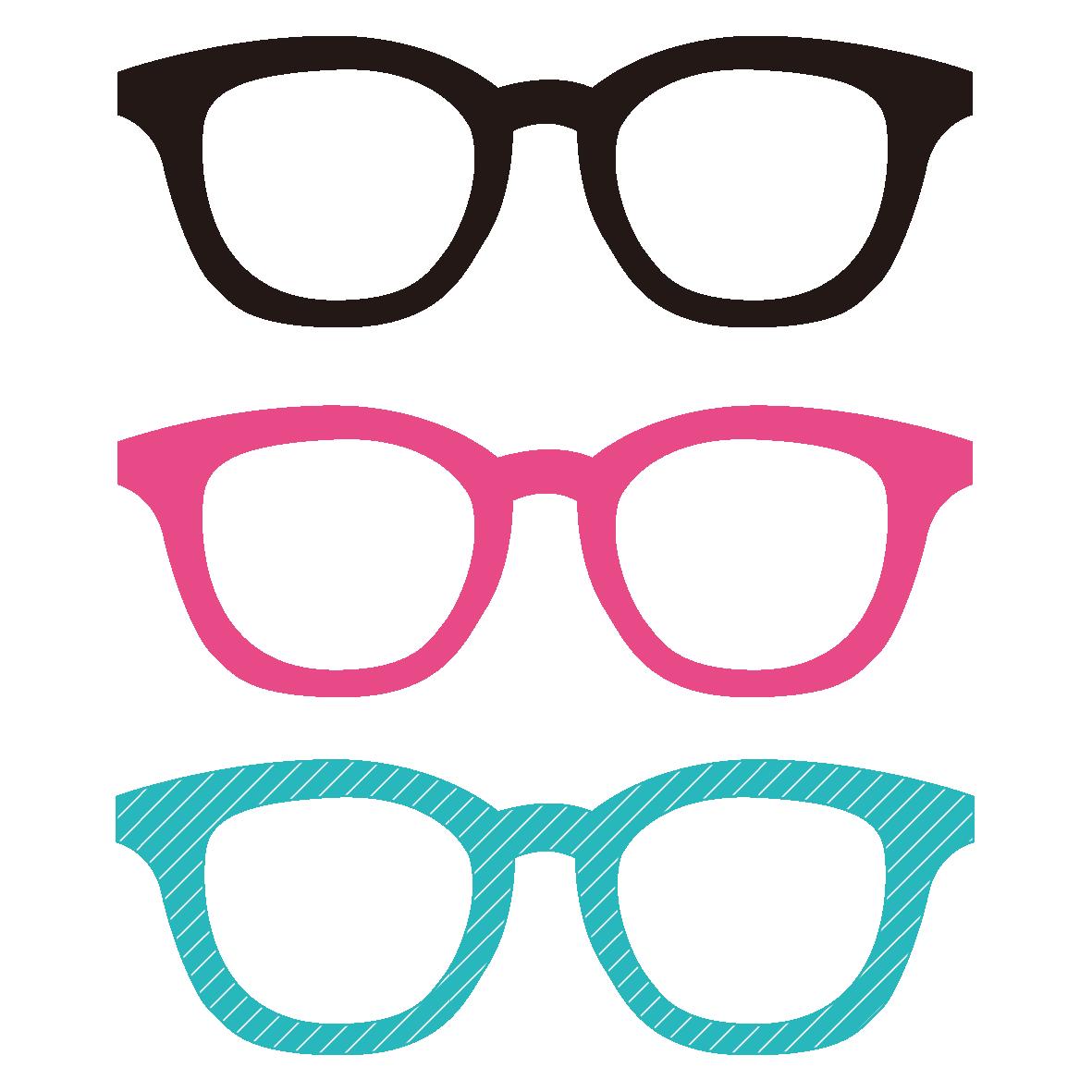 メガネのイラスト3種類 無料イラスト愛