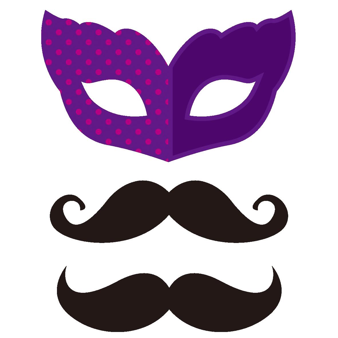 仮面とつけひげのシルエット 無料イラスト愛
