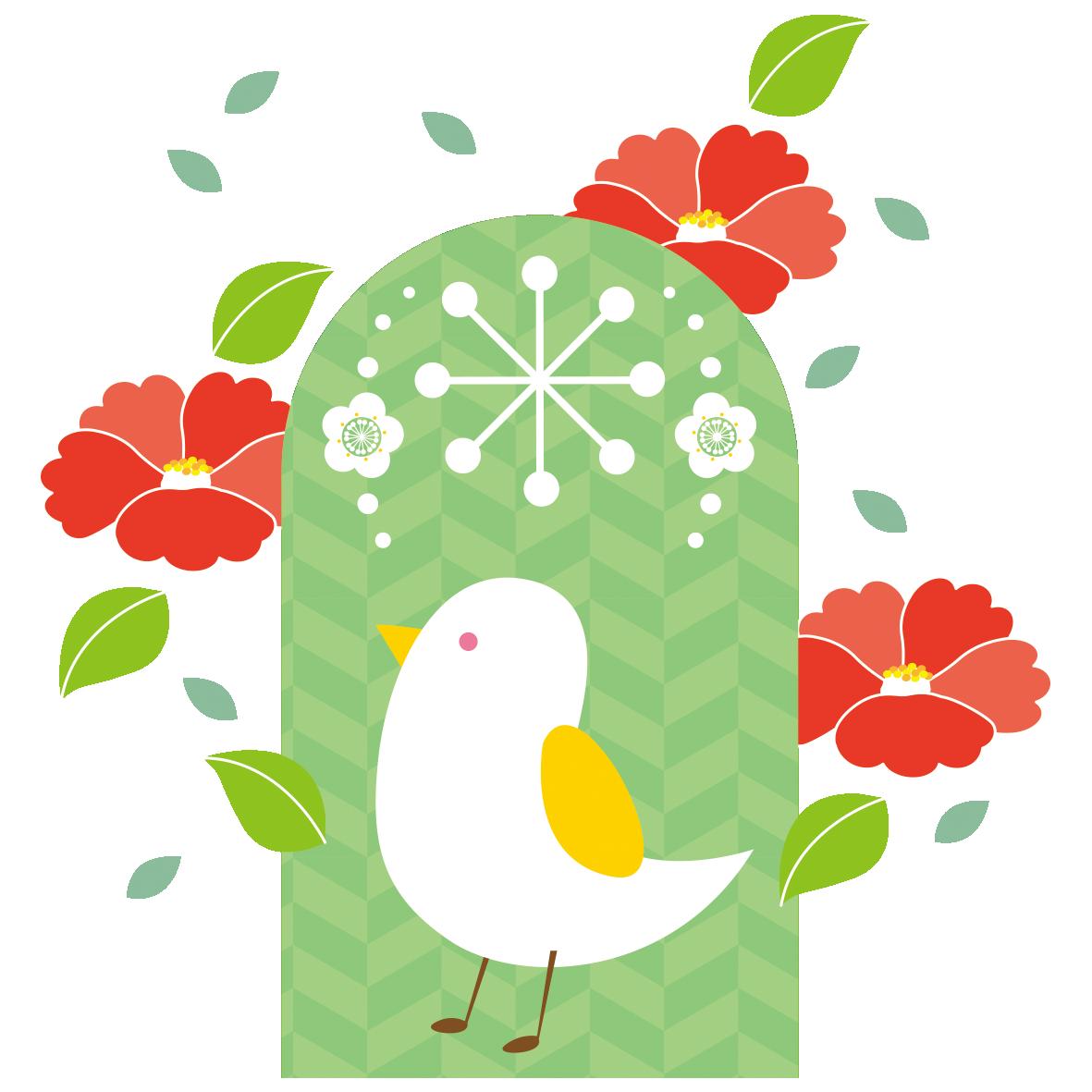 白い小鳥と赤い椿の花 無料イラスト愛