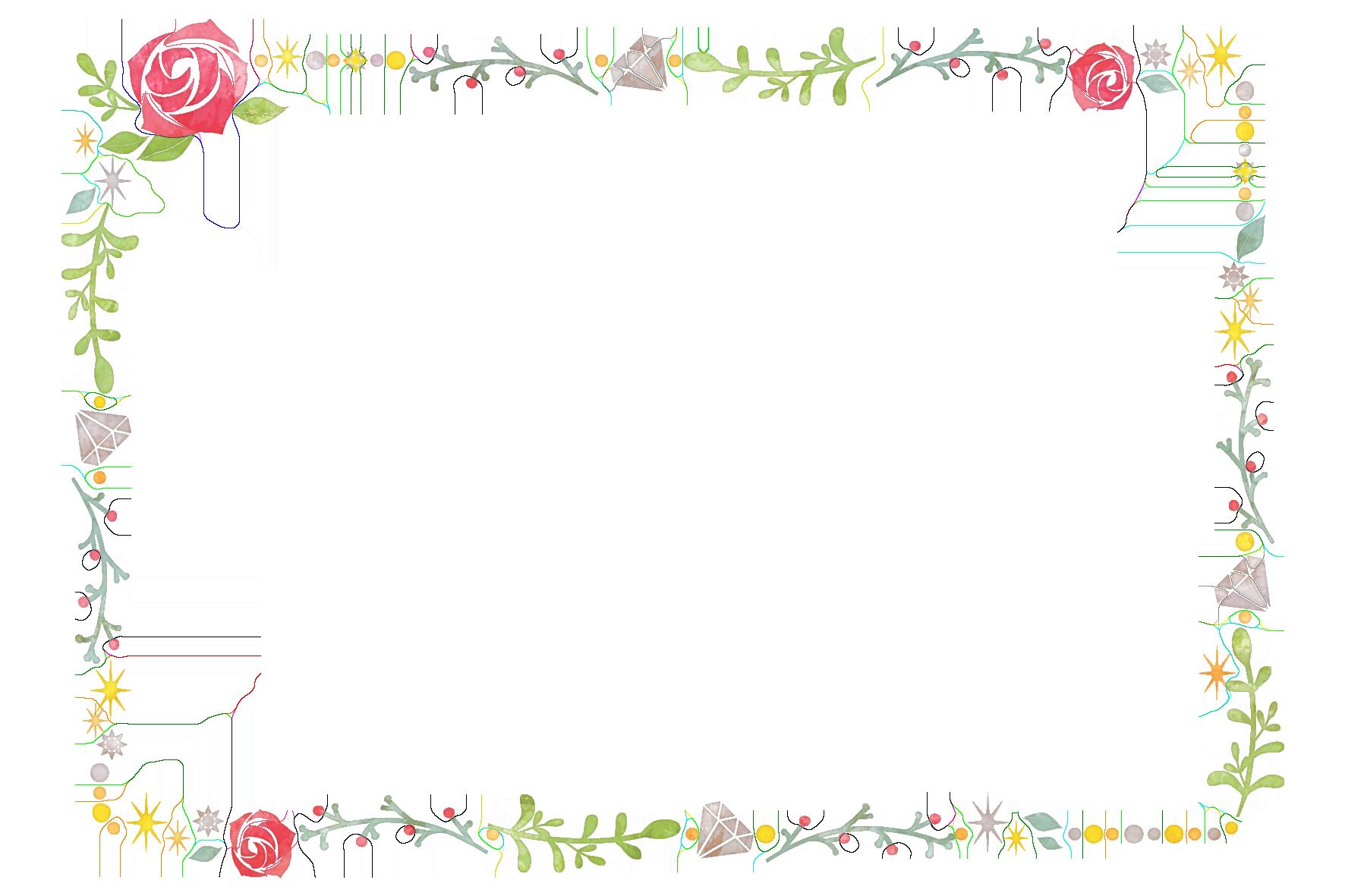 バラの花と植物のフレーム」 - 無料イラスト愛