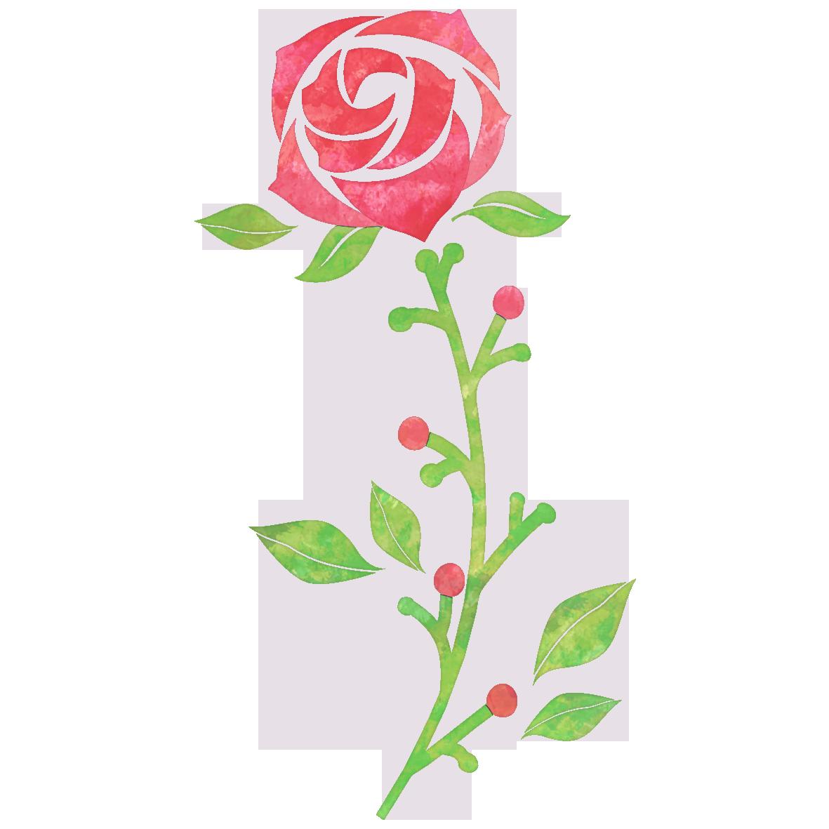 一輪の赤いバラの花 無料イラスト愛