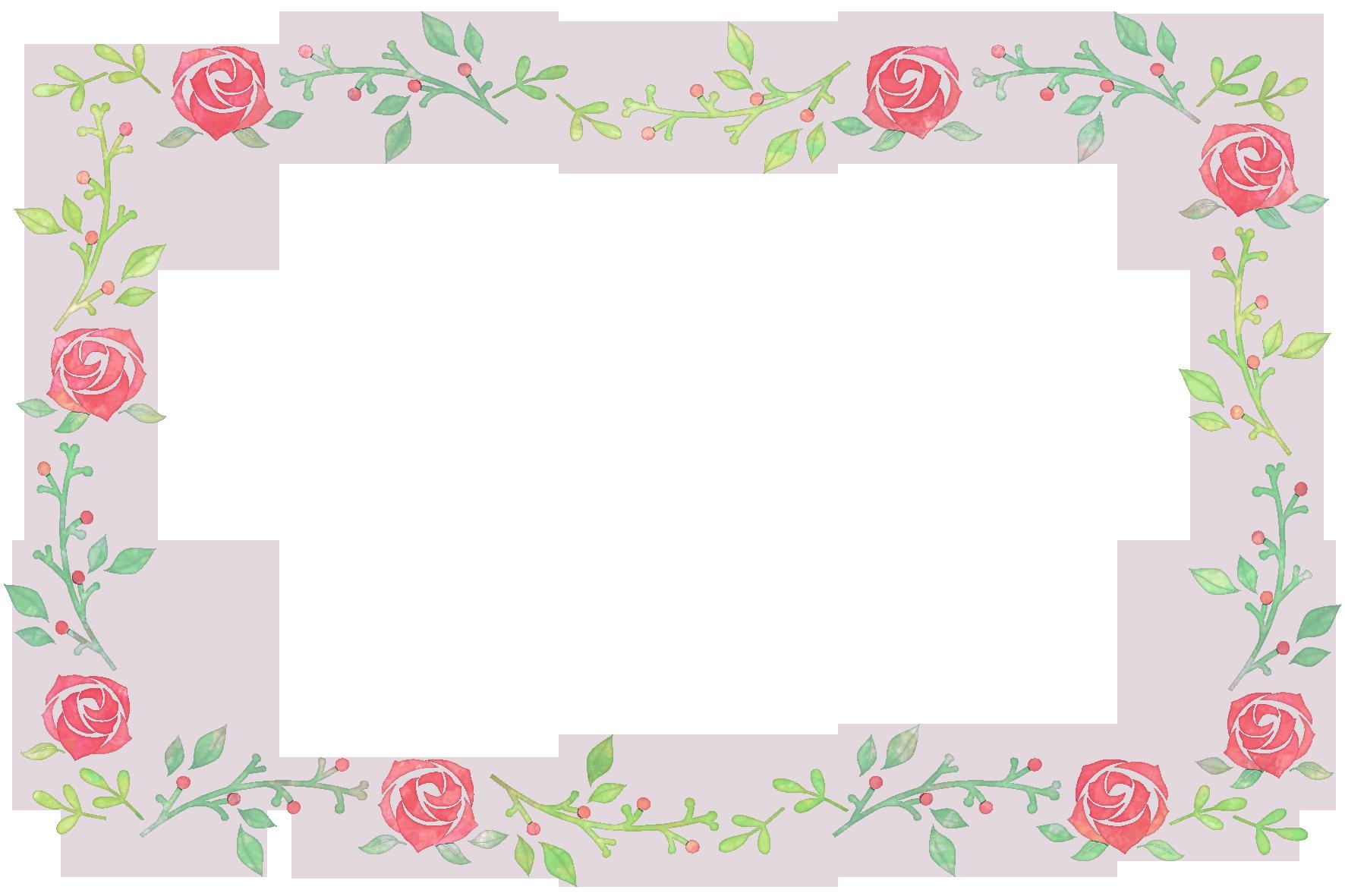 バラの花の水彩フレーム」 - 無料イラスト愛