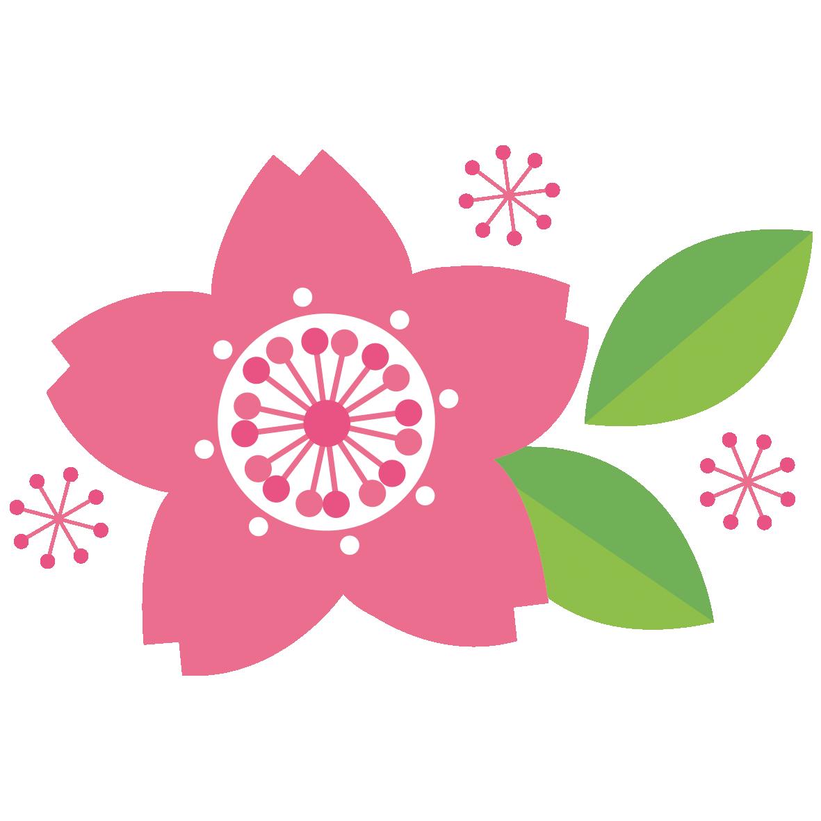 レトロな雰囲気がおしゃれなの桜の花 無料イラスト愛