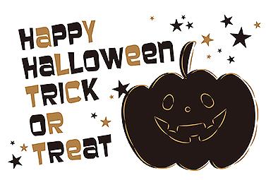 黒のカボチャとトリックオアトリート ハロウィンカード 2018 かぼちゃ 無料 イラスト
