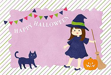 かわいい魔法使いと黒猫 ハロウィンカード 2018 人気 無料 イラスト