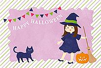 かわいい魔法使いと黒猫のハロウィンカード