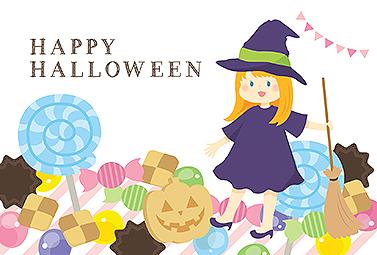 ハロウィンのお菓子と可愛い魔女 ハロウィンカード 2018 かわいい 無料 イラスト