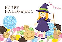 ハロウィンのお菓子と可愛い魔女のハロウィンカード
