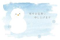 水彩タッチの雪だるま
