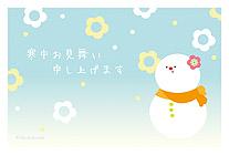 花と笑顔の雪だるま