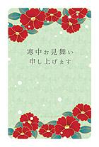 舞う雪と椿の花