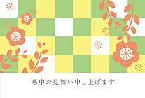 梅の花と格子模様