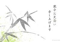 竹の水墨画風イラスト