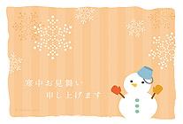 夕暮れと雪だるま