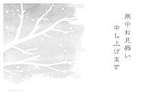 冬空のモノクロイラスト