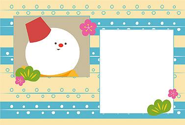 雪だるまと和柄 横 年賀状16無料イラスト素材集