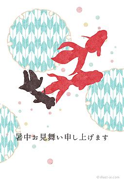 金魚と和柄暑中お見舞いテンプレート 無料イラストillust Ai